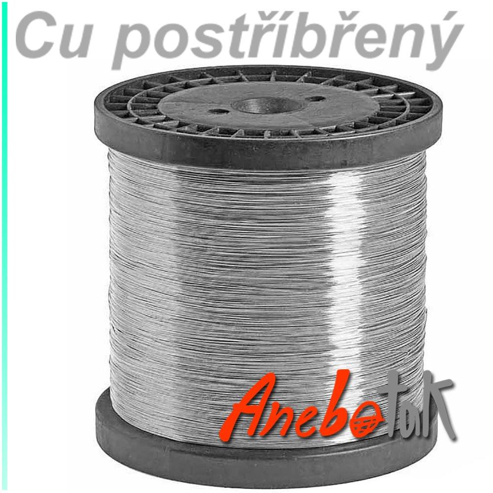Ag postříbřený drát polotvrdý, 0,8 mm, cívka 4 kg