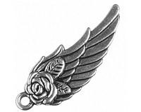 Přívěsek starostříbrný - křídlo, 31x11 mm (4 ks)